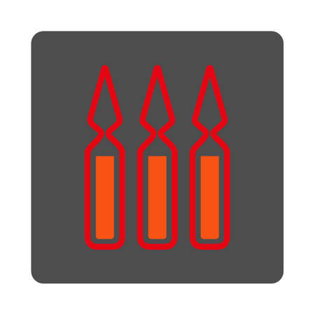 ampoules: Ampoules vector icon. Style is flat rounded square silver button with red symbol, white background.