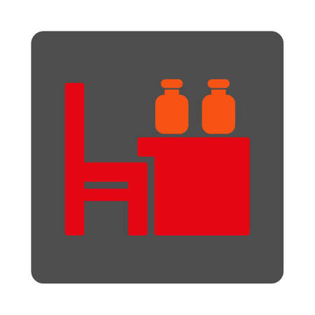 dataset: Apothecary Dataset vector icon. Style is flat rounded square silver button with red symbol, white background.