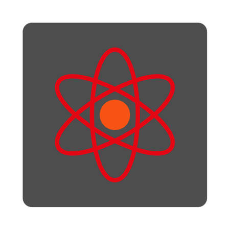 fission: Atom vector icon. Style is flat rounded square silver button with red symbol, white background. Illustration