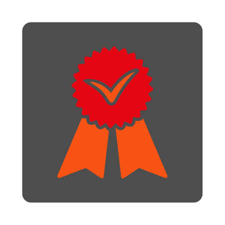 approvement: Approvement vector icon. Style is flat rounded square silver button with red symbol, white background.