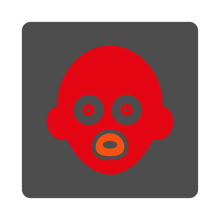 babe: Infant Head vector icon. Style is flat rounded square silver button with red symbol, white background. Illustration