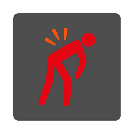 body damage: Sick Back vector icon. Style is flat rounded square silver button with red symbol, white background.