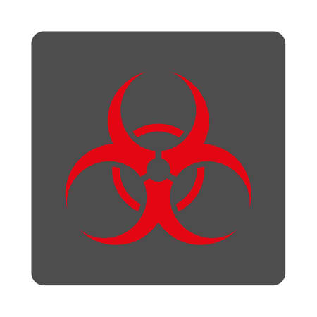 the bacteria signal: Biohazard Symbol vector icon. Style is flat rounded square silver button with red symbol, white background. Illustration