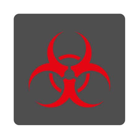 riesgo biologico: S�mbolo de riesgo biol�gico del vector del icono. El estilo es bot�n de plata cuadrada redondeada plana con el s�mbolo de color rojo, fondo blanco.