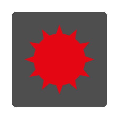 ameba: Bacterium vector icon. Style is flat rounded square silver button with red symbol, white background.
