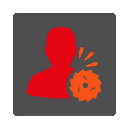 Body Execution vector icon. Style is flat rounded square silver button with red symbol, white background.