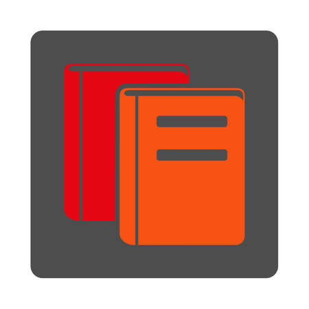 periodicals: Books vector icon. Style is flat rounded square silver button with red symbol, white background.