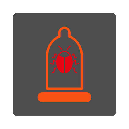 red condom: Bug Protection vector icon. Style is flat rounded square silver button with red symbol, white background.