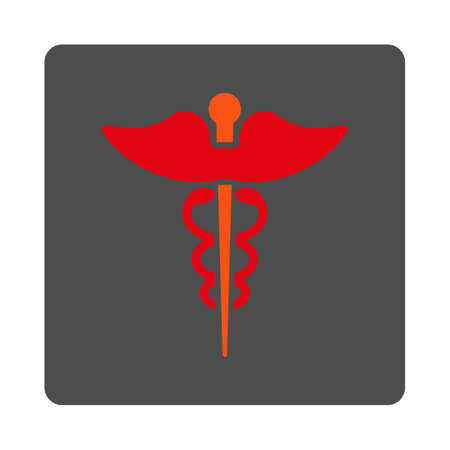 asclepius: Caduceus vector icon. Style is flat rounded square silver button with red symbol, white background.
