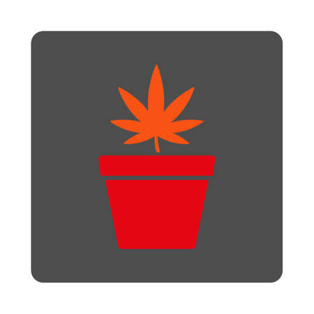 cannabinol: Pharmacy Pot vector icon. Style is flat rounded square silver button with red symbol, white background.