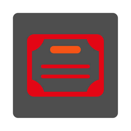 attest: Certificate vector icon. Style is flat rounded square silver button with red symbol, white background. Illustration