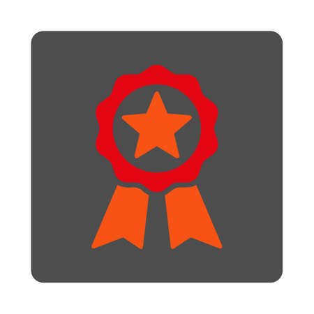 certification: Certification Stamp vector icon. Style is flat rounded square silver button with red symbol, white background. Illustration