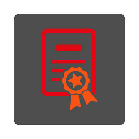 attest: Certified Diploma vector icon. Style is flat rounded square silver button with red symbol, white background.