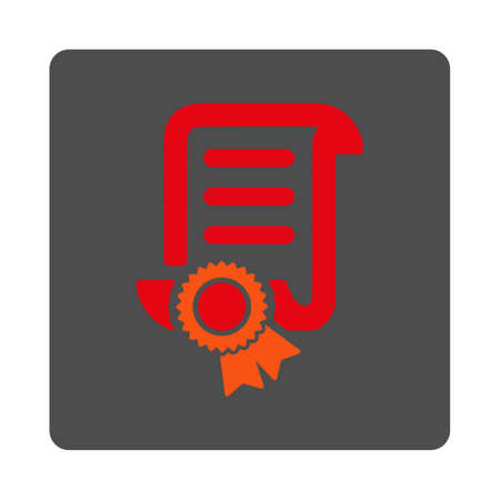 attest: Certified Scroll Document vector icon. Style is flat rounded square silver button with red symbol, white background.
