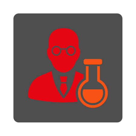 chemist: Chemist vector icon. Style is flat rounded square silver button with red symbol, white background. Illustration