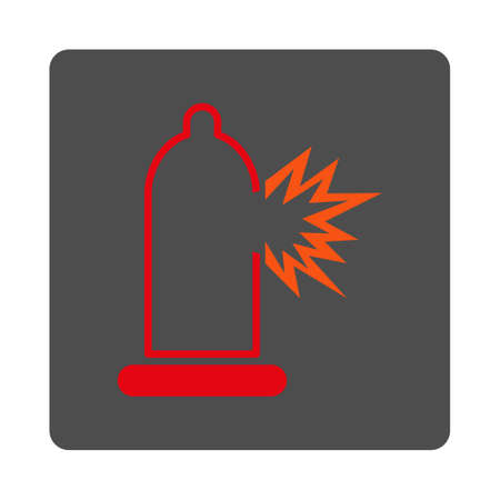 damage: Preservative Damage vector icon. Style is flat rounded square silver button with red symbol, white background.
