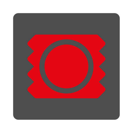 red condom: Contraception vector icon. Style is flat rounded square silver button with red symbol, white background.