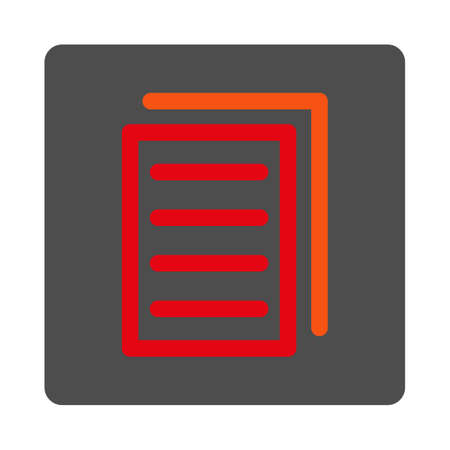 replication: Copy File vector icon. Style is flat rounded square silver button with red symbol, white background. Illustration