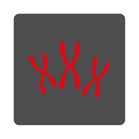chromosomes: Chromosomes vector icon. Style is flat rounded square silver button with red symbol, white background. Illustration