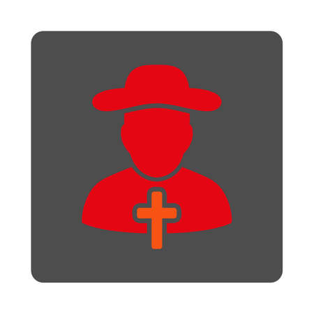 cleric: Christian vector icon. Style is flat rounded square silver button with red symbol, white background.