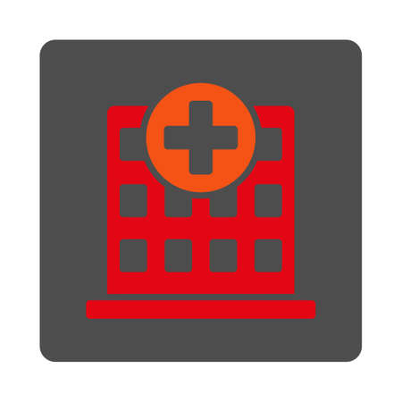 polyclinic: Hospital vector icon. Style is flat rounded square silver button with red symbol, white background. Illustration