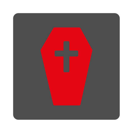 burial: Coffin vector icon. Style is flat rounded square silver button with red symbol, white background.