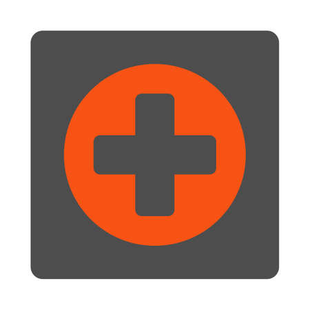 append: Append vector icon. Style is flat rounded square silver button with red symbol, white background.