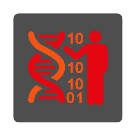 decode: DNA Code Report vector icon. Style is flat rounded square silver button with red symbol, white background.