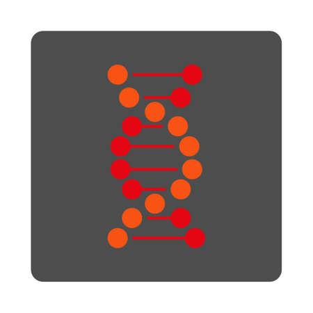 encode: DNA Spiral vector icon. Style is flat rounded square silver button with red symbol, white background. Illustration
