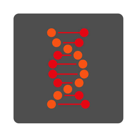 genome: Genome vector icon. Style is flat rounded square silver button with red symbol, white background.