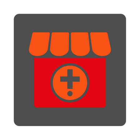 polyclinic: Apothecary vector icon. Style is flat rounded square silver button with red symbol, white background. Illustration