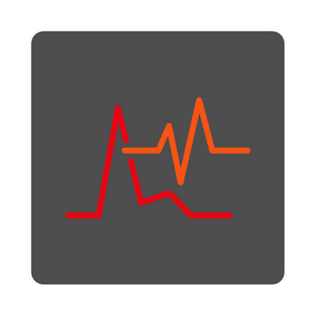 cardiograph: ECG vector icon. Style is flat rounded square silver button with red symbol, white background.