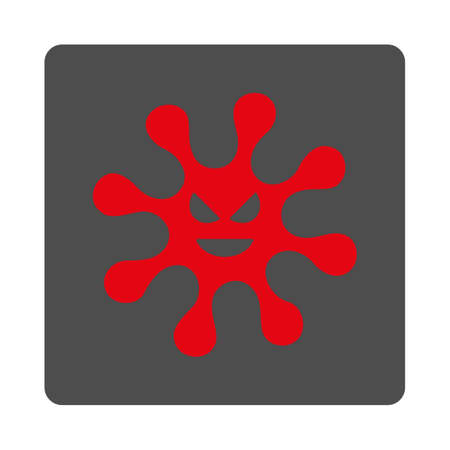 goad: Danger Microbe vector icon. Style is flat rounded square silver button with red symbol, white background.