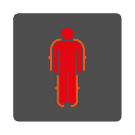 robot with shield: Exoskeleton vector icon. Style is flat rounded square silver button with red symbol, white background.