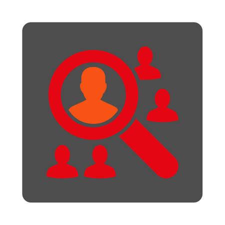 pacjent: Przeglądaj pacjenci ikona wektor. Styl jest płaski zaokrąglony kwadrat srebrny przycisk z czerwonym symbolem, białym tle.