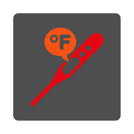 parameter: Fahrenheit Temperature vector icon. Style is flat rounded square silver button with red symbol, white background.