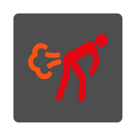 fart: Fart vector icon. Style is flat rounded square silver button with red symbol, white background.