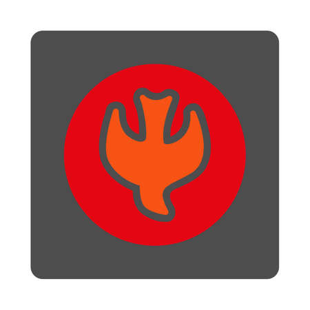 epistemology: Falling Soul vector icon. Style is flat rounded square silver button with red symbol, white background. Illustration