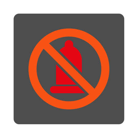 condoms: Banned Rubber vector icon. Style is flat rounded square silver button with red symbol, white background.