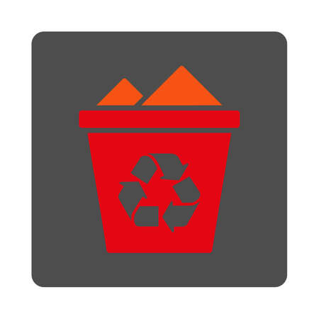 trashcan: Full Trashcan vector icon. Style is flat rounded square silver button with red symbol, white background. Illustration