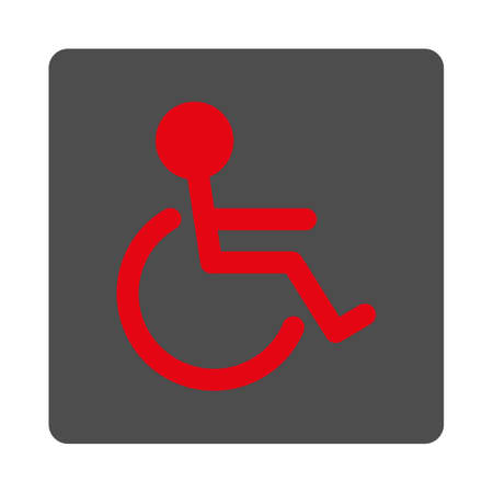 handicapped: Handicapped vector icon. Style is flat rounded square silver button with red symbol, white background.