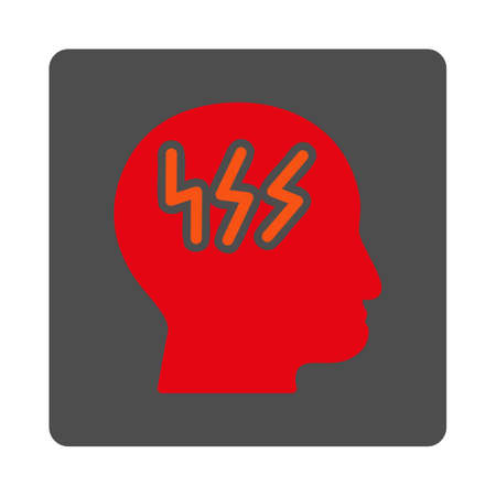 head pain: Head Pain vector icon. Style is flat rounded square silver button with red symbol, white background.