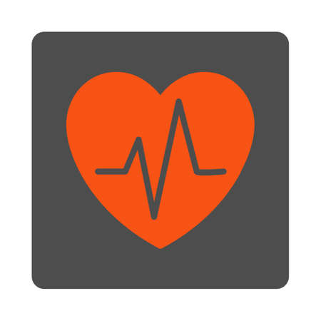Heart Ekg vector icon. Style is flat rounded square silver button with red symbol, white background.