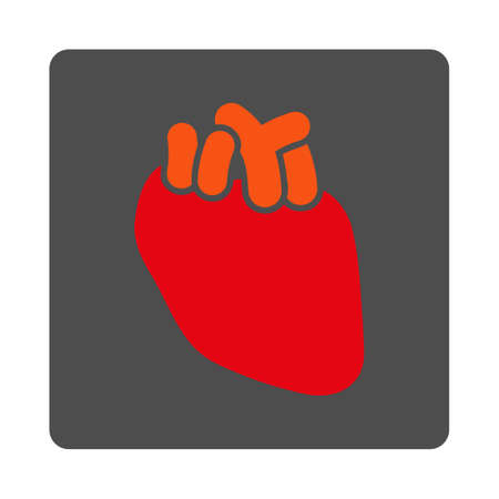 dissection: Heart vector icon. Style is flat rounded square silver button with red symbol, white background.
