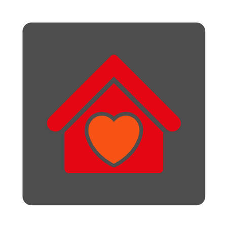 Hospice vector icon. Style is flat rounded square silver button with red symbol, white background.