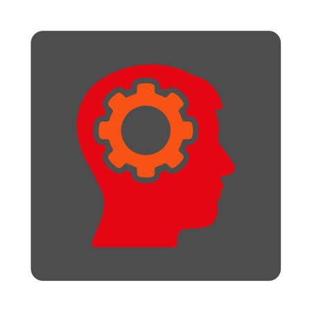 Human Memory vector icon. Style is flat rounded square silver button with red symbol, white background.