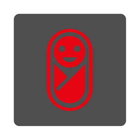 Baby vector icon. Style is flat rounded square silver button with red symbol, white background.