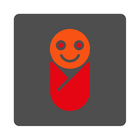 Infant vector icon. Style is flat rounded square silver button with red symbol, white background.