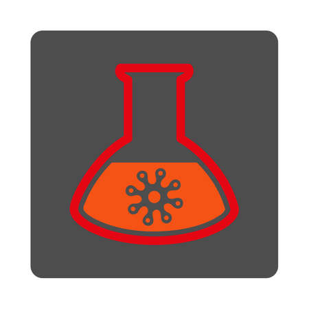 infection: Infection Container vector icon. Style is flat rounded square silver button with red symbol, white background.