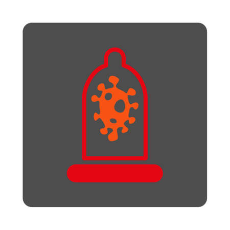 red condom: Infection Protection vector icon. Style is flat rounded square silver button with red symbol, white background. Illustration
